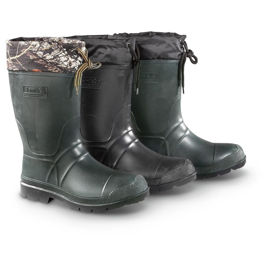 Kamik Men's Sportsman Rubber Boots, Waterproof, Insulated • Pictured from Left to Right: Camo, Black, Khaki