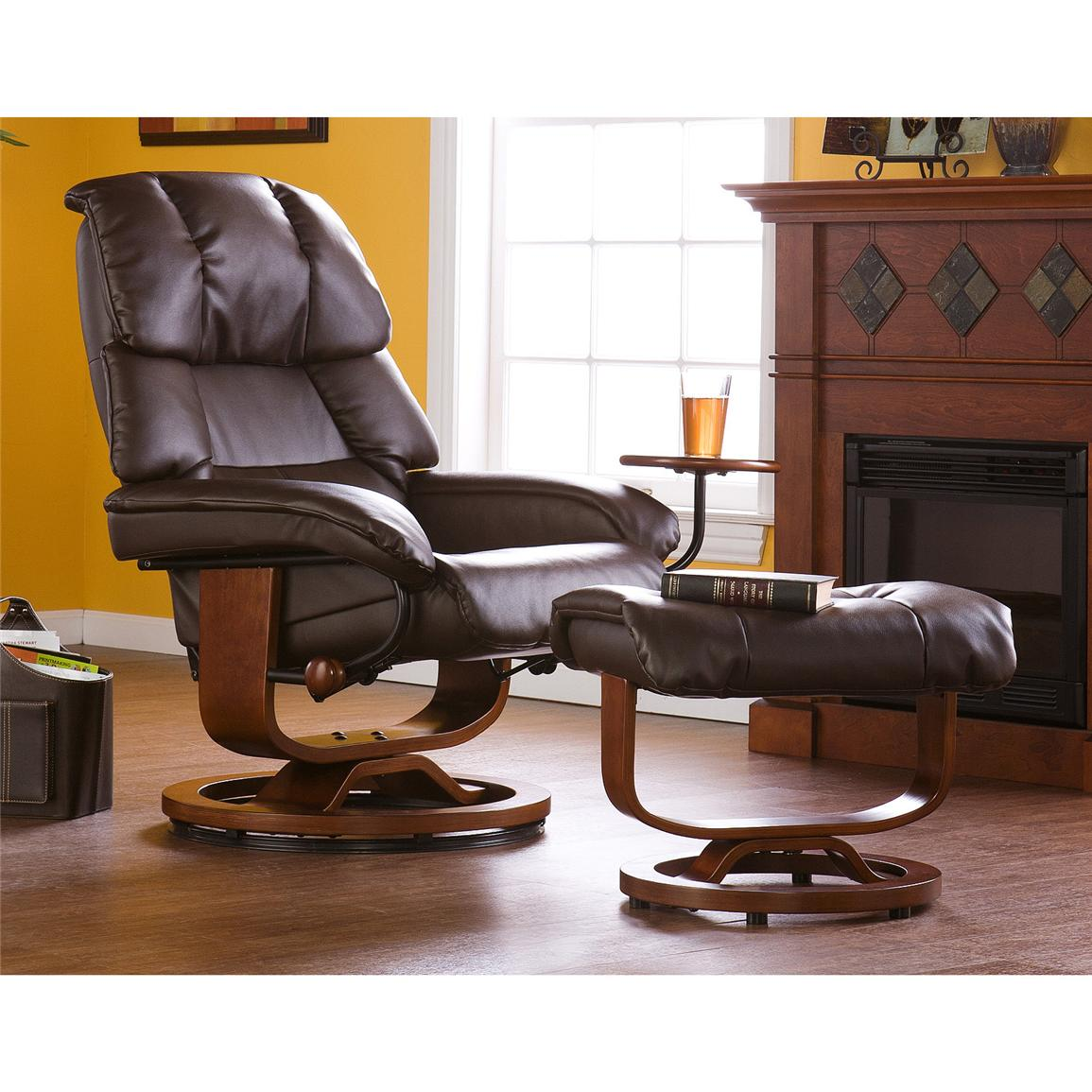 Canyon Lake Leather Recliner and Ottoman, Cafe Brown