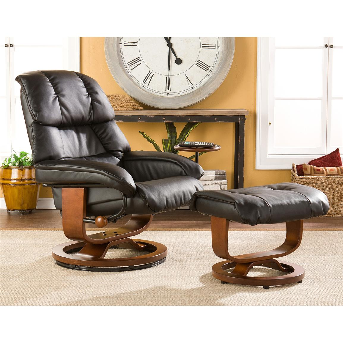 Canyon Lake Leather Recliner and Ottoman, Black