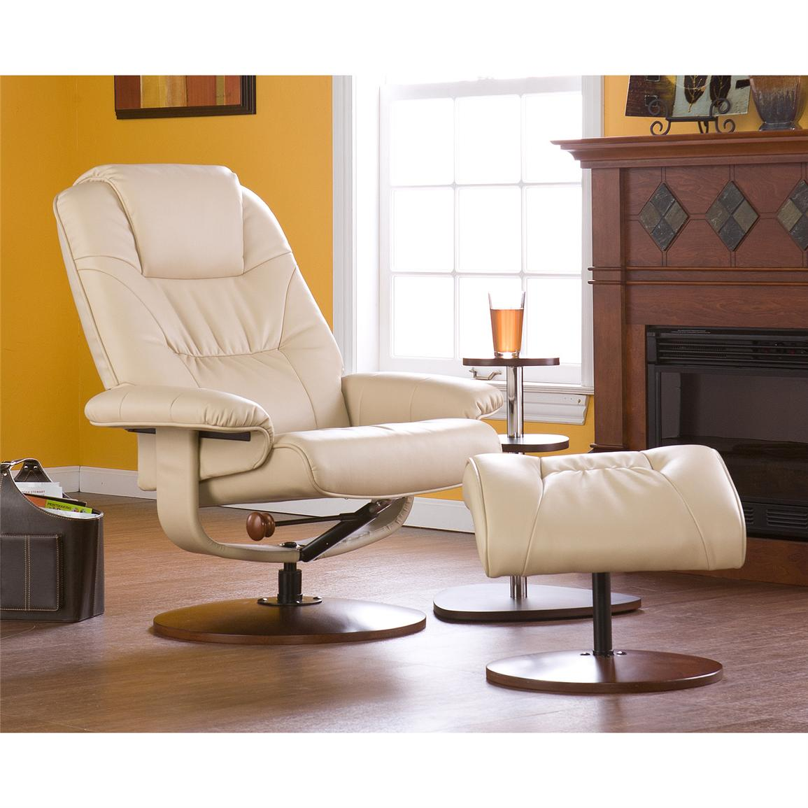 Parrish Leather Recliner and Ottoman, Taupe