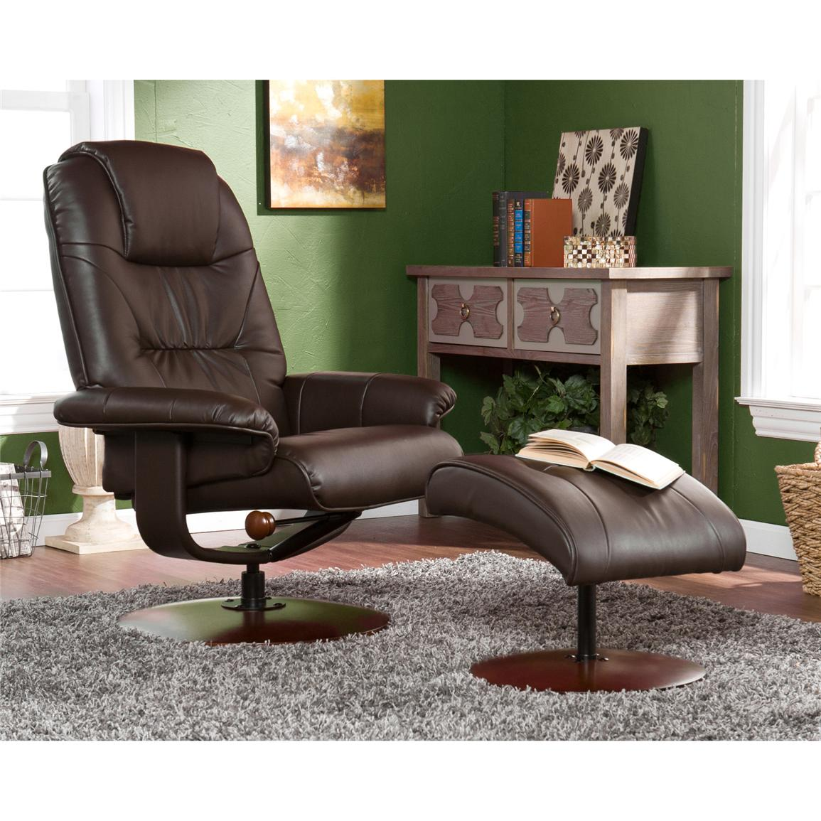Parrish Leather Recliner and Ottoman, Cafe Brown