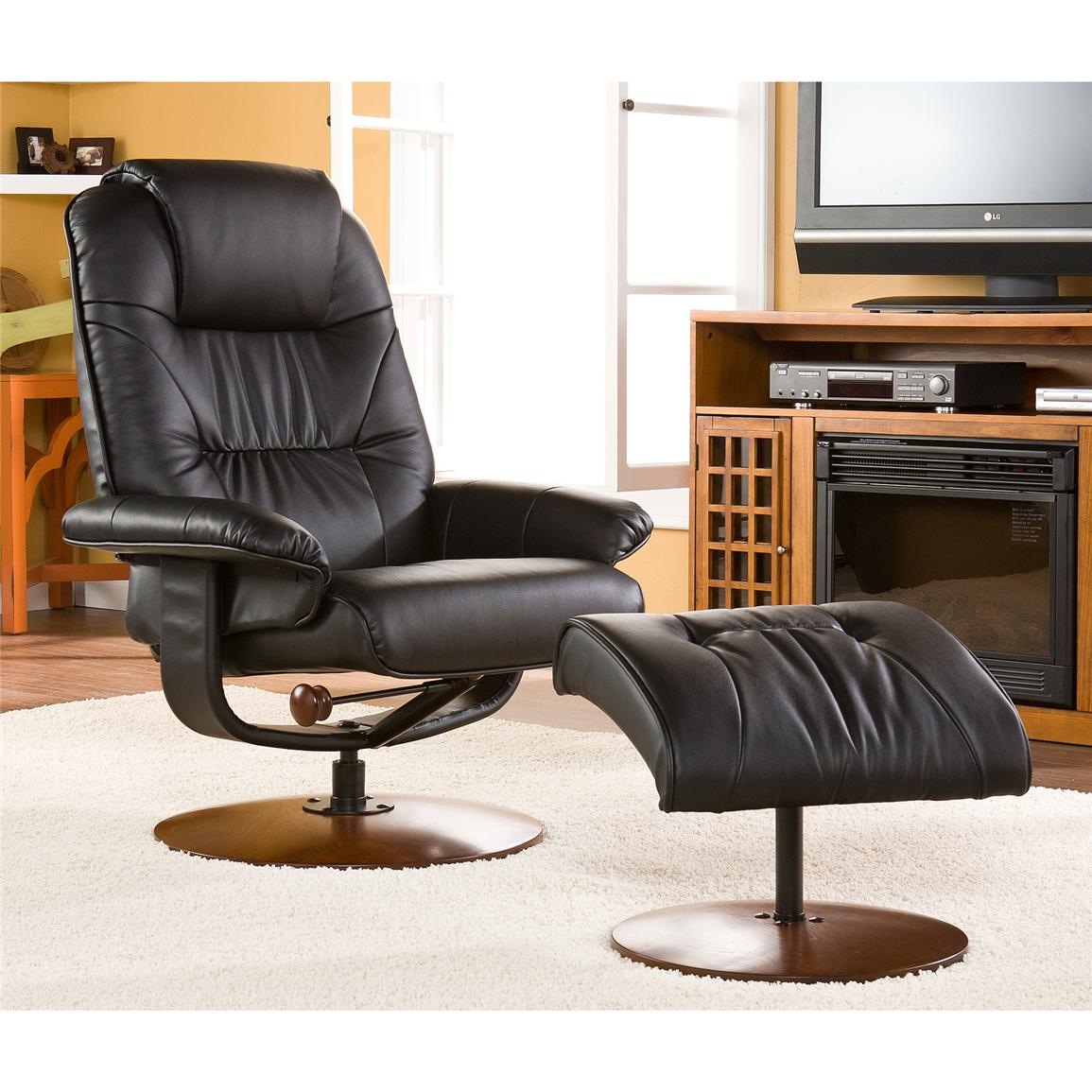 Parrish Leather Recliner and Ottoman, Black