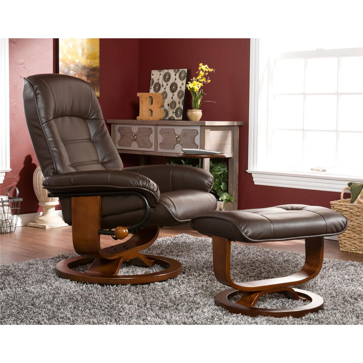 Holly & Martin™ Hemphill Leather Recliner and Ottoman, Cafe Brown