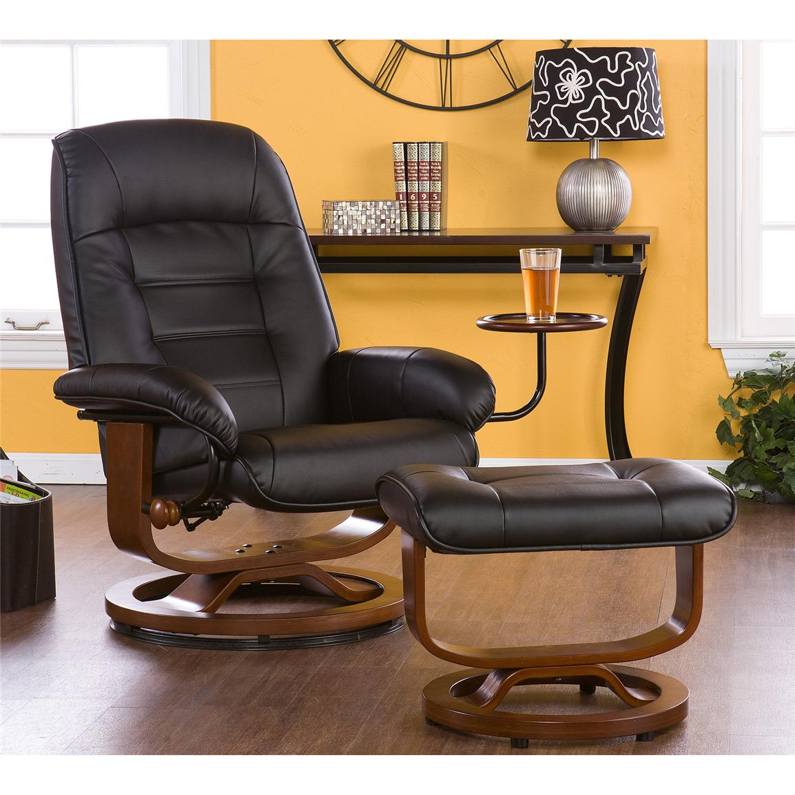 Holly & Martin™ Hemphill Leather Recliner and Ottoman, Black