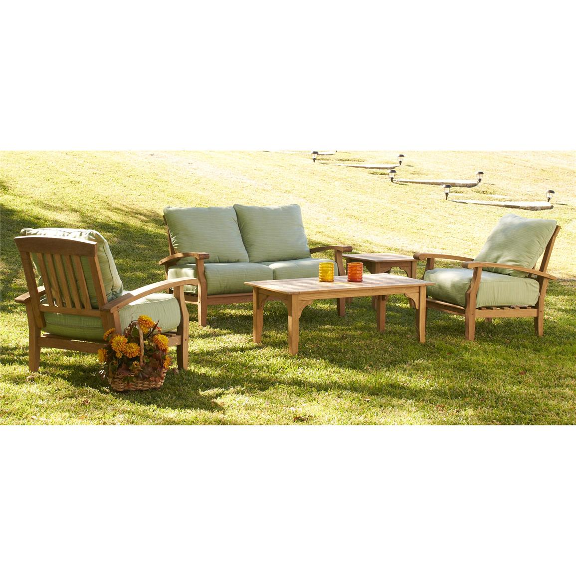 5-Pc. Holly & Martin™ Colleyville Teakwood Outdoor Deep Seating Sofa Set