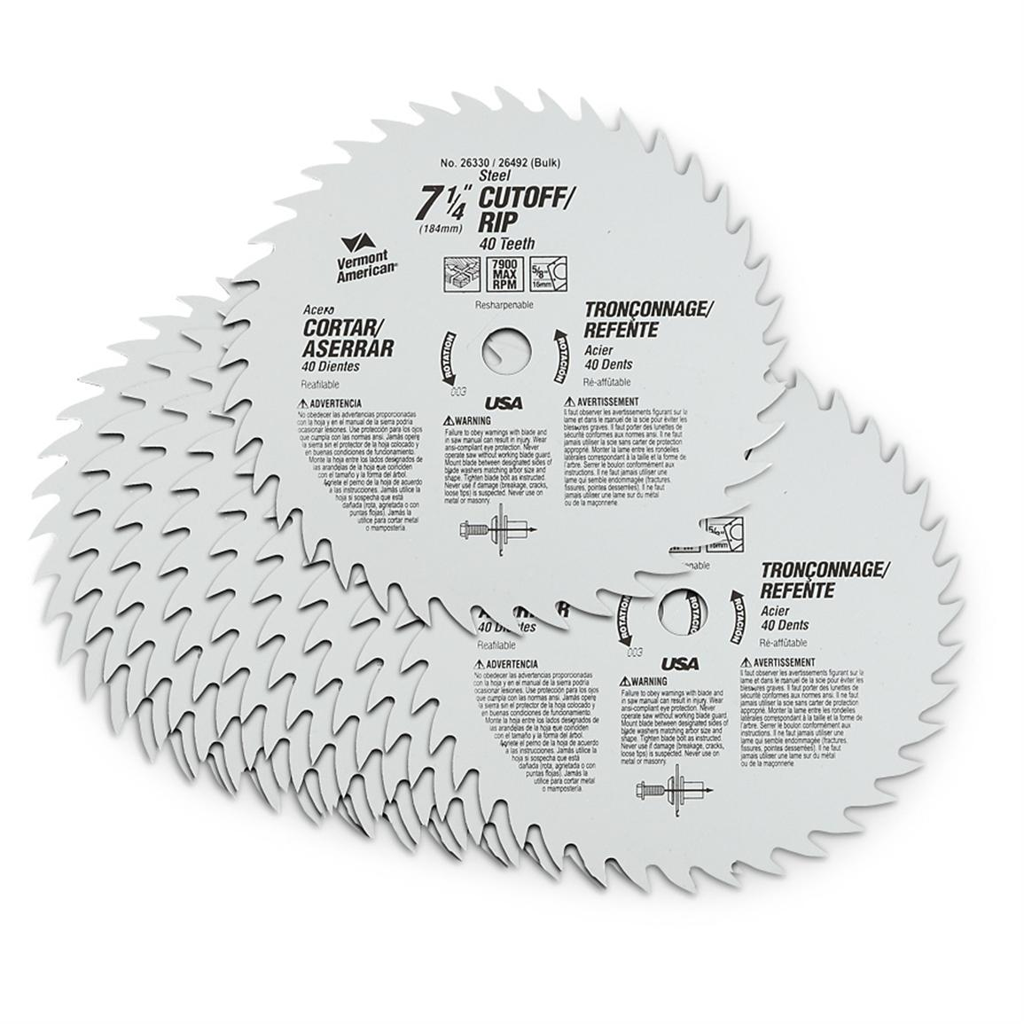 10-Pk. of Vermont American® 7 1/4 inch 40-tooth Circular Saw Blades
