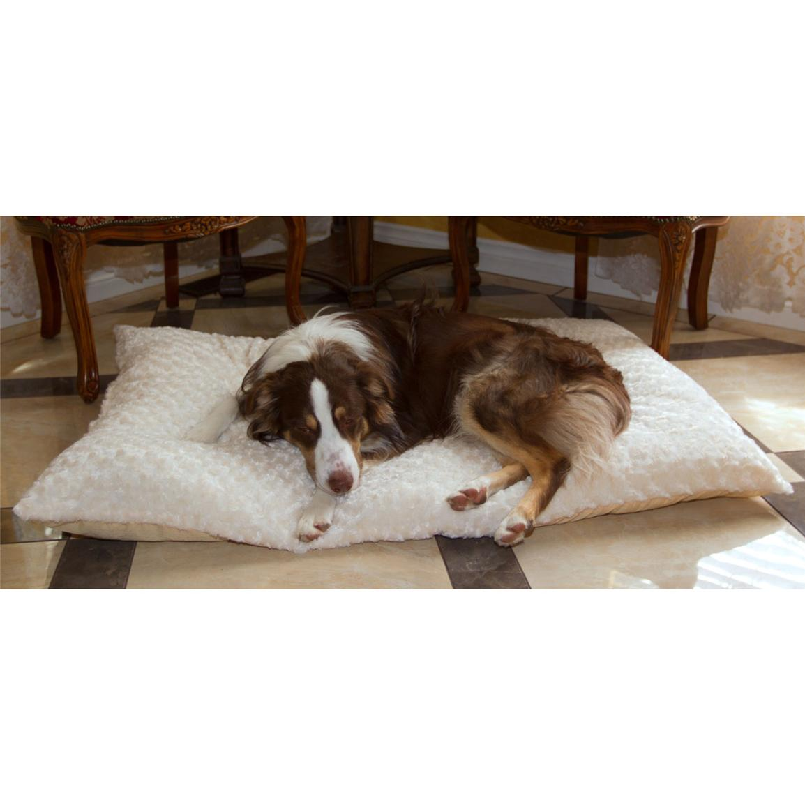 Trademark® PAW Lavish Cushion Pillow Furry Pet Bed, Latte