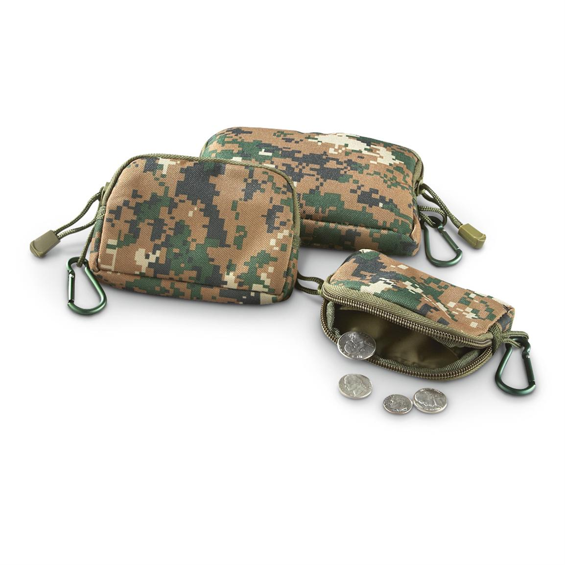 3-Pc. Set of Fox Tactical® Padded Field Wallets, Digital Woodland
