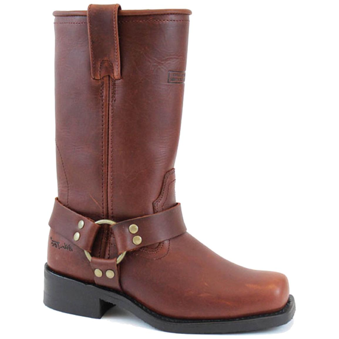 12 inch Women's Ad Tec® Leather Harness Boots, Reddish Brown
