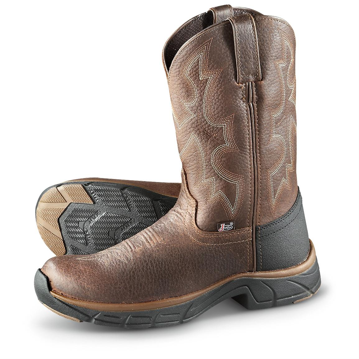 Men's Justin® 10 inch Stampede Rancher Boots, Pebbled Copper