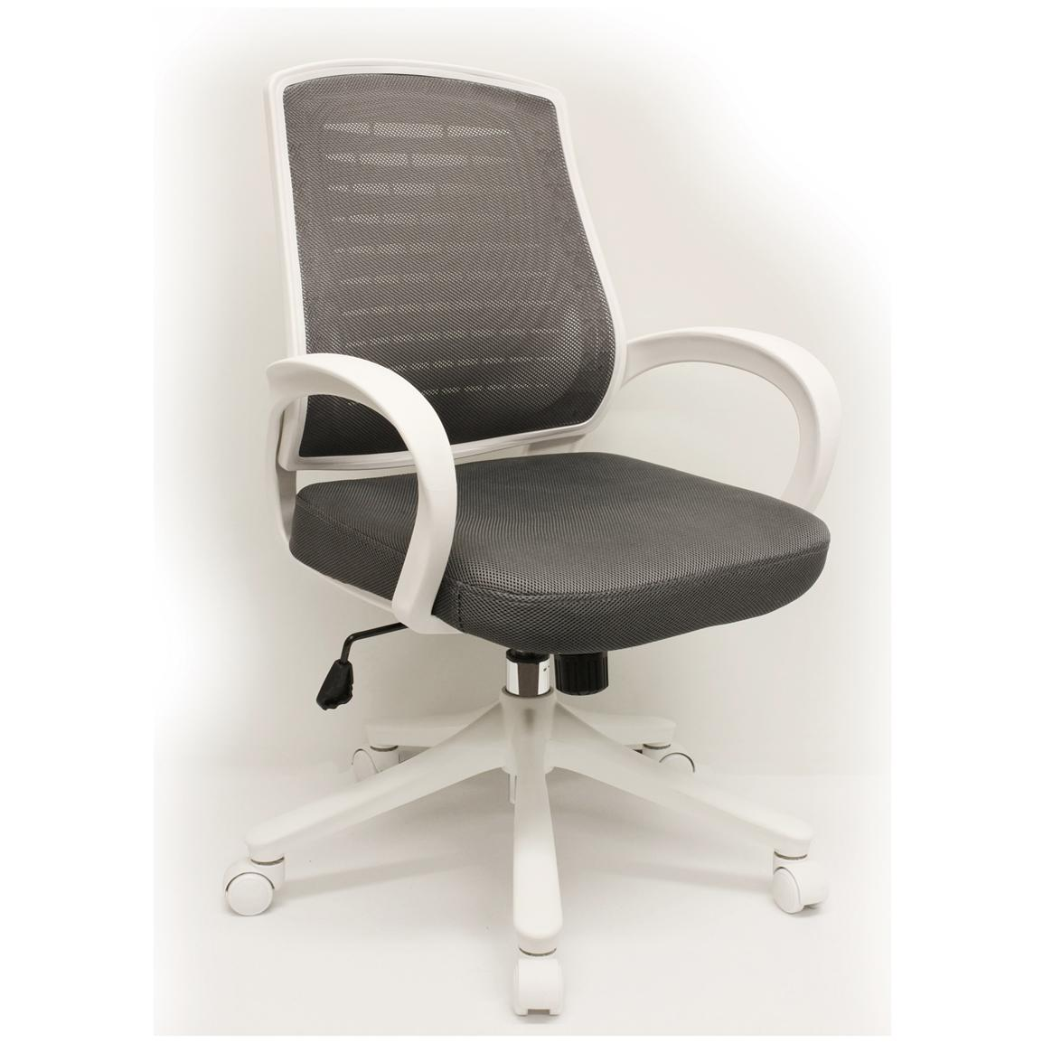 Comfort Products Iona Mesh Chair with White Frame, Grey / White - Front Side