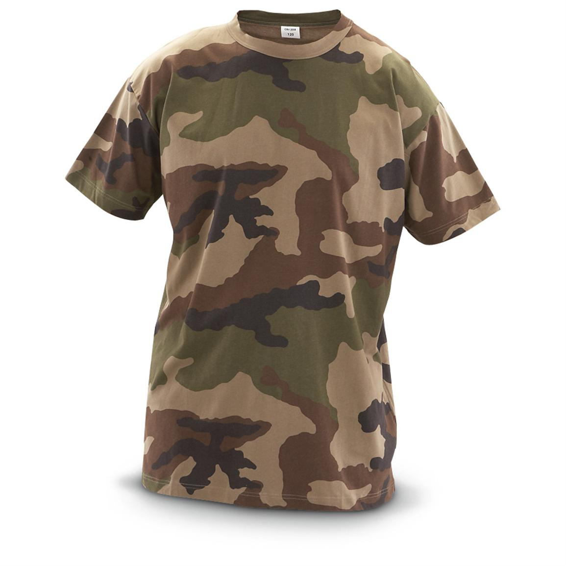 3 New French Military Surplus T-shirts, CCE camo