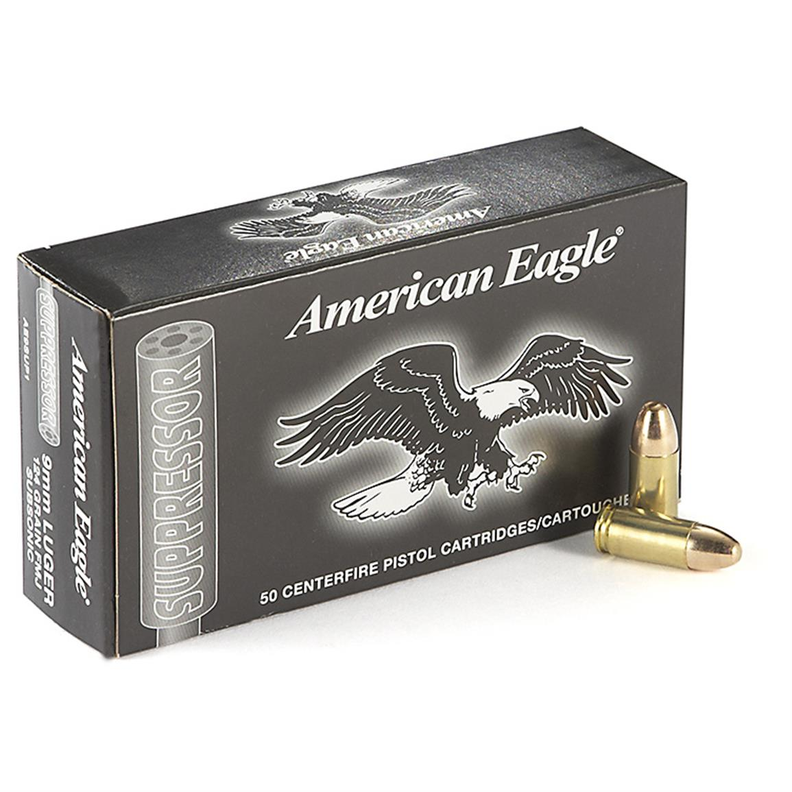 Federal American Eagle Suppressor Pistol, 9mm Luger, FMJ, 124 Grain, 50 Rounds