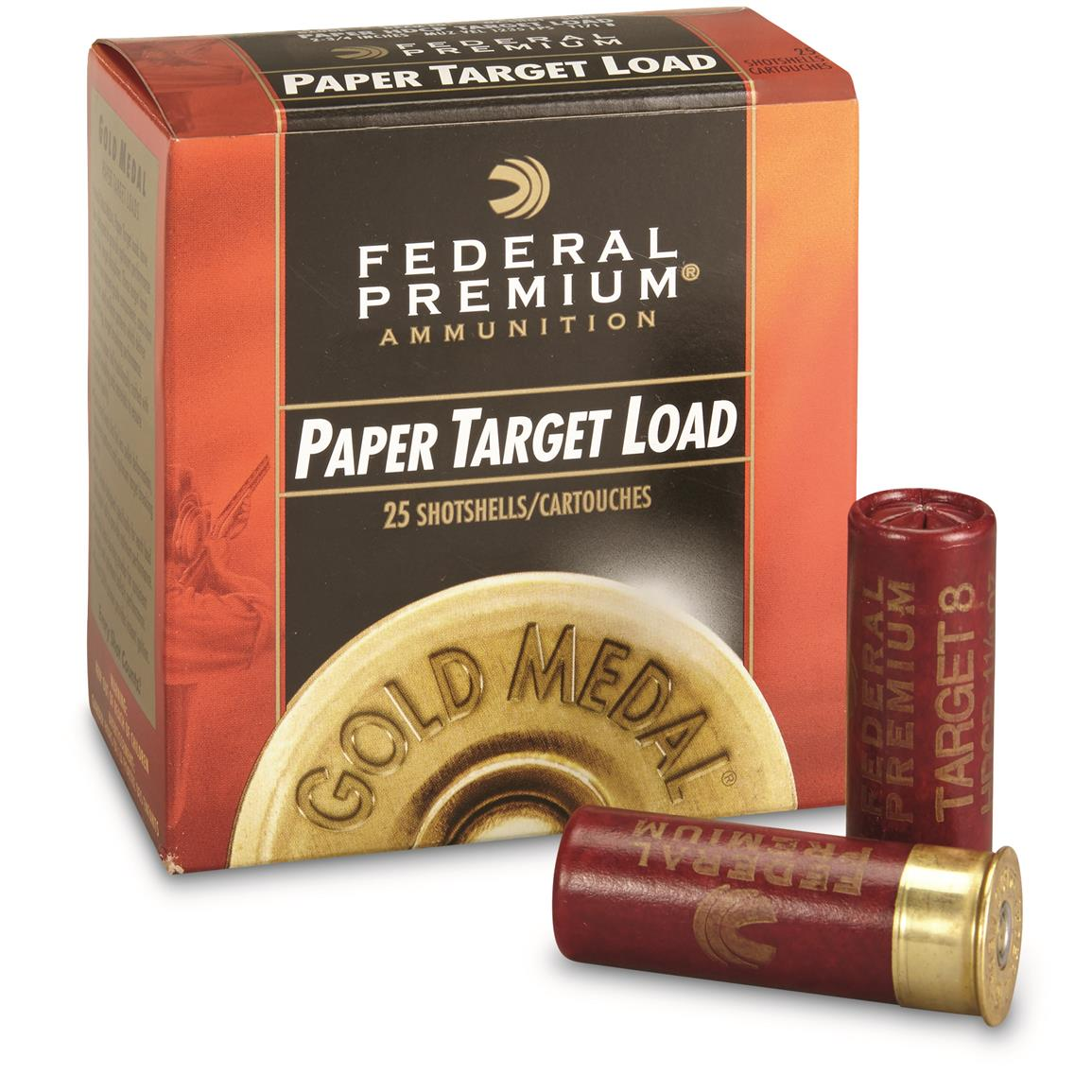 "Federal, 12 Gauge, Gold Medal Paper Shot Shells, 2 3/4"" 1 1/8 oz. Handicap, 25 Rounds"