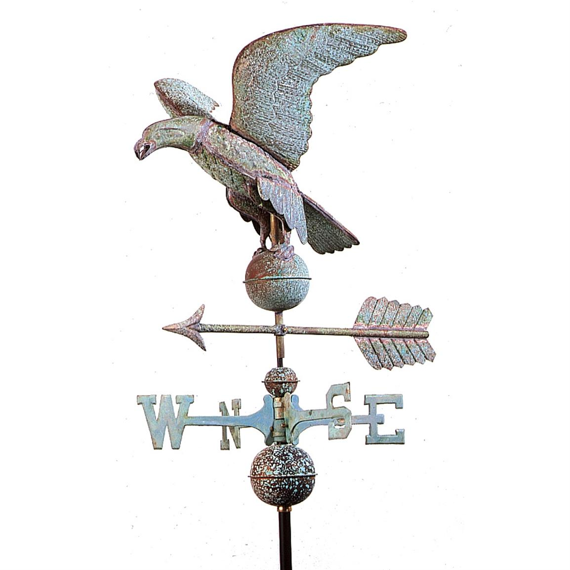 Full Size Good Directions Eagle Weathervane, Weathered Copper
