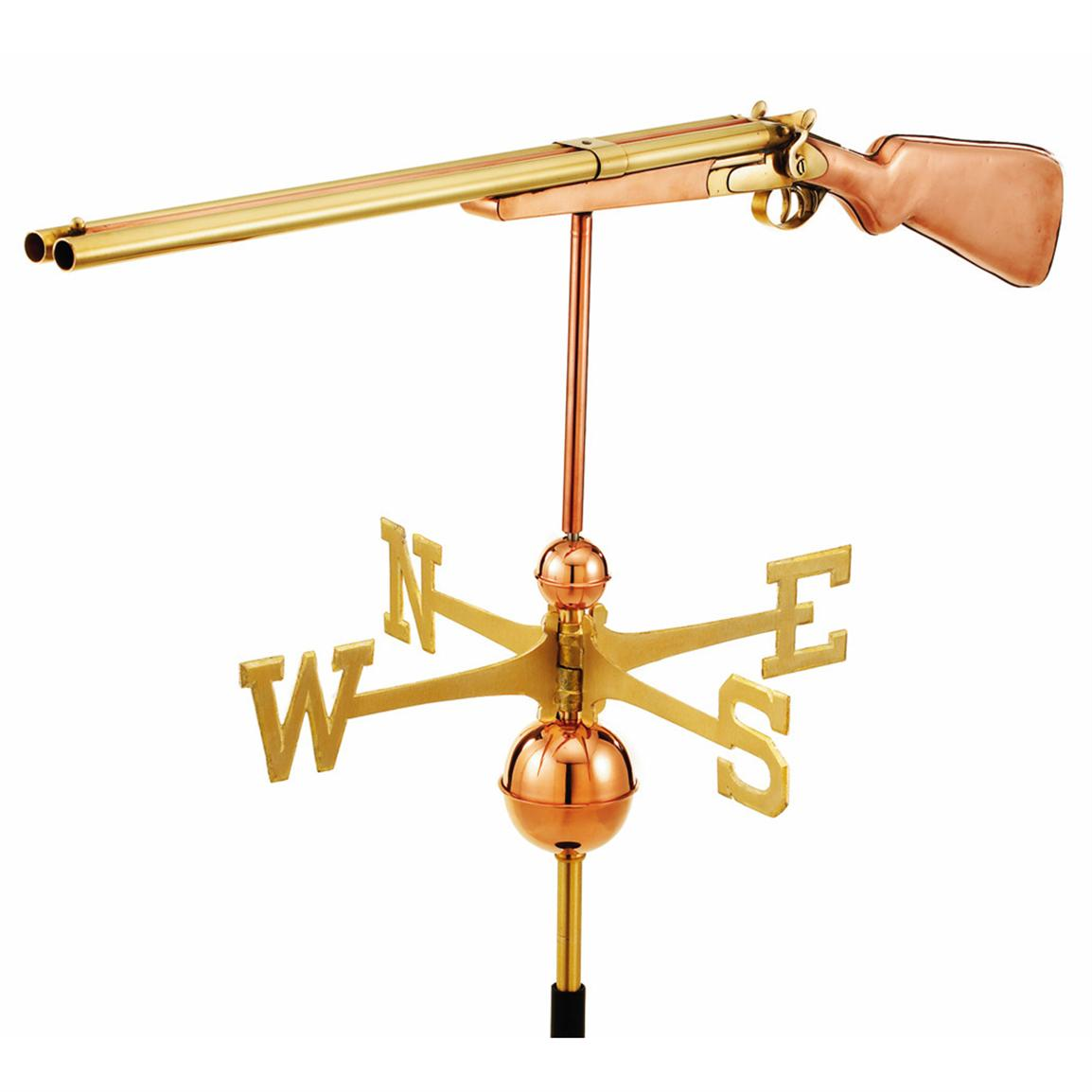 Full Size Good Directions Shotgun Weathervane, Polished Copper