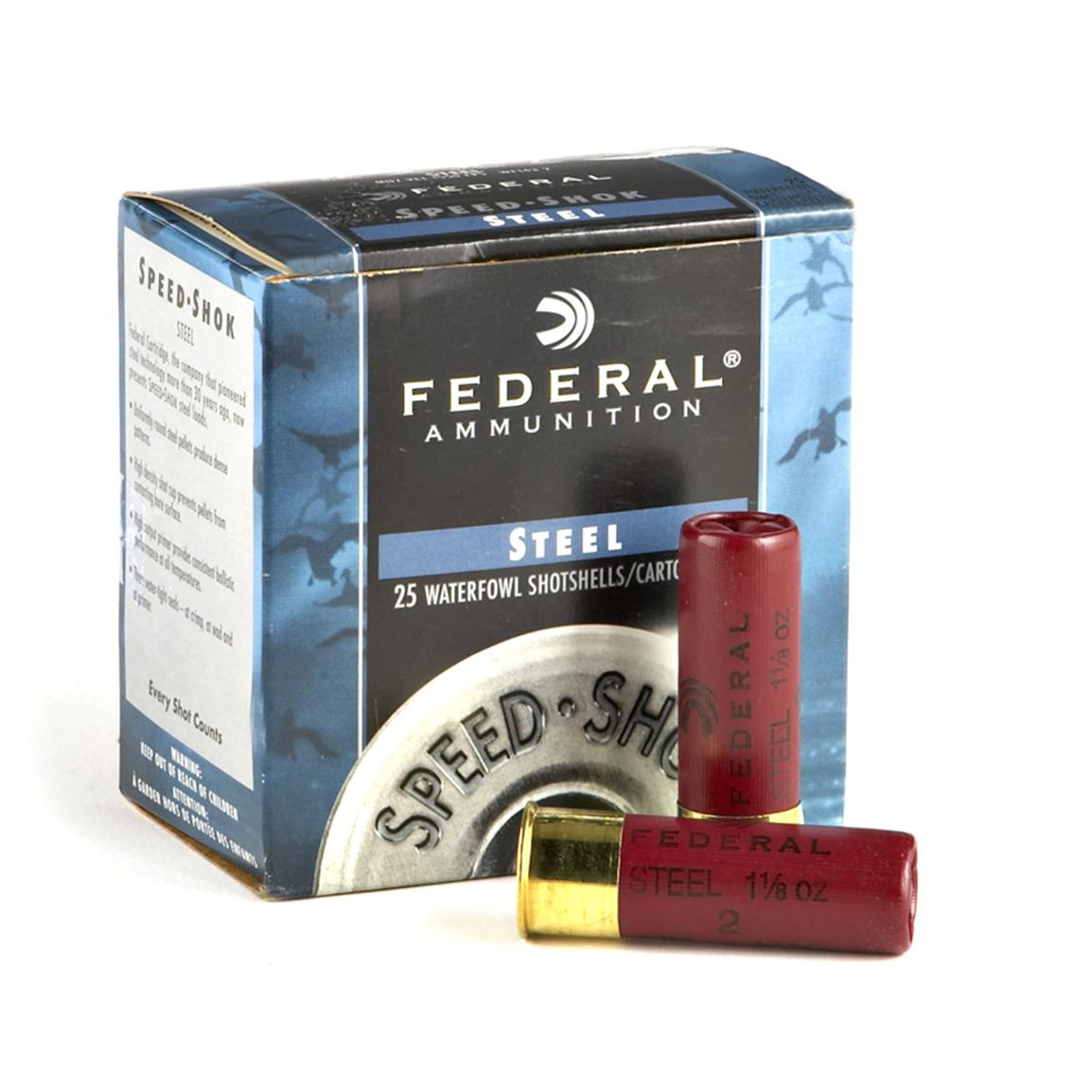 "Federal Speed Shok, 12 Gauge, 3"", 1 1/8 oz., Steel, 25 Rounds"