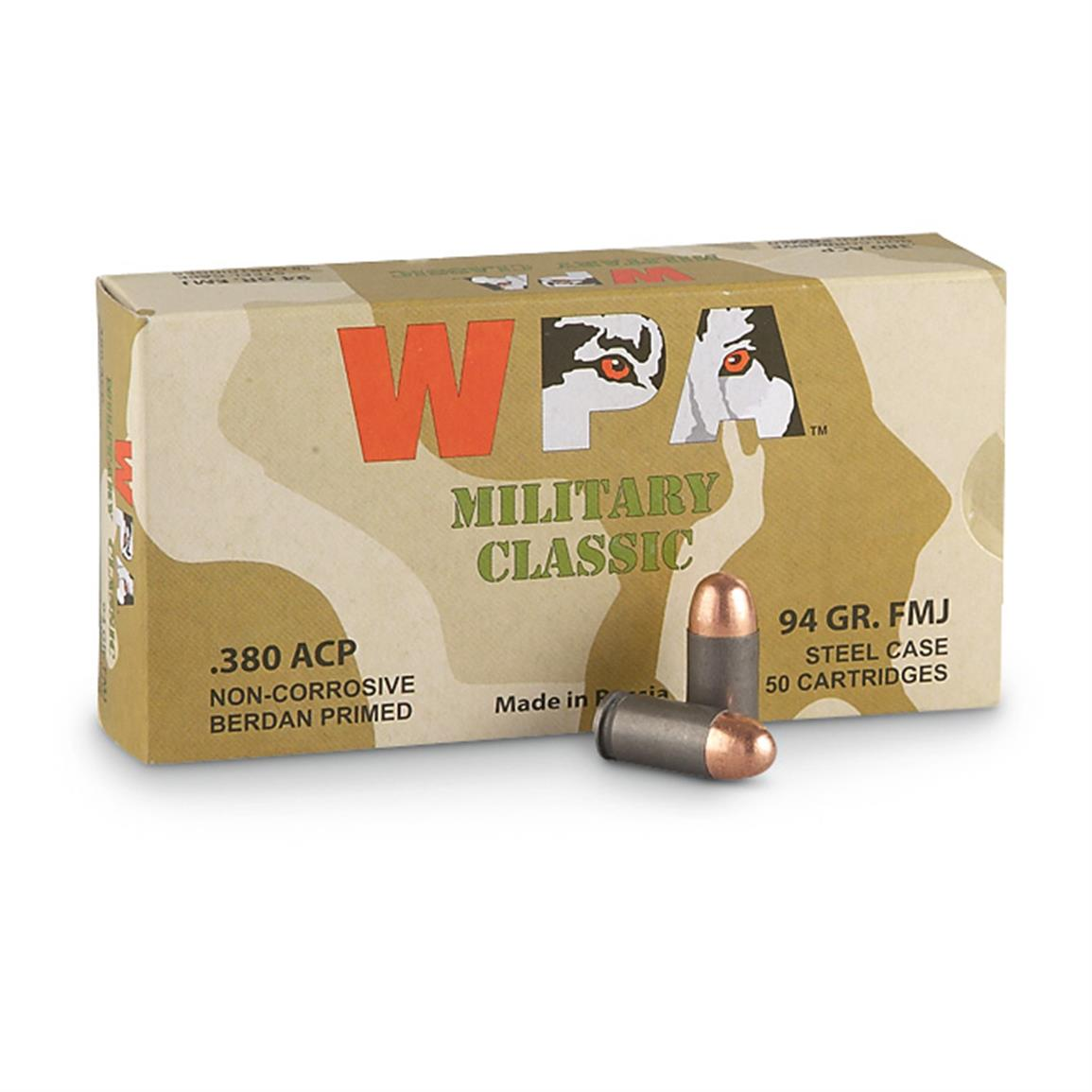 Wolf, .380 ACP, FMJ, 94 Grain, 250 Rounds