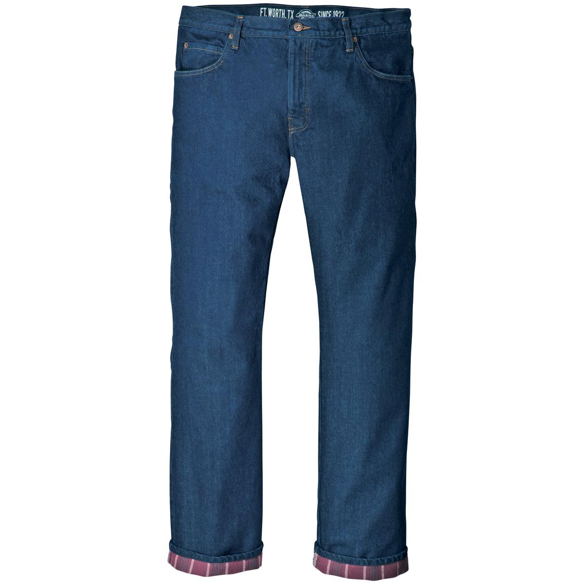 Men's Dickies Relaxed Straight Fit Flannel-lined Jeans, Stonewashed Indigo