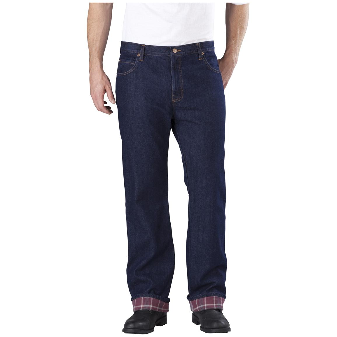 Men's Dickies Relaxed Straight Fit Flannel-lined Jeans, Rinsed Indigo