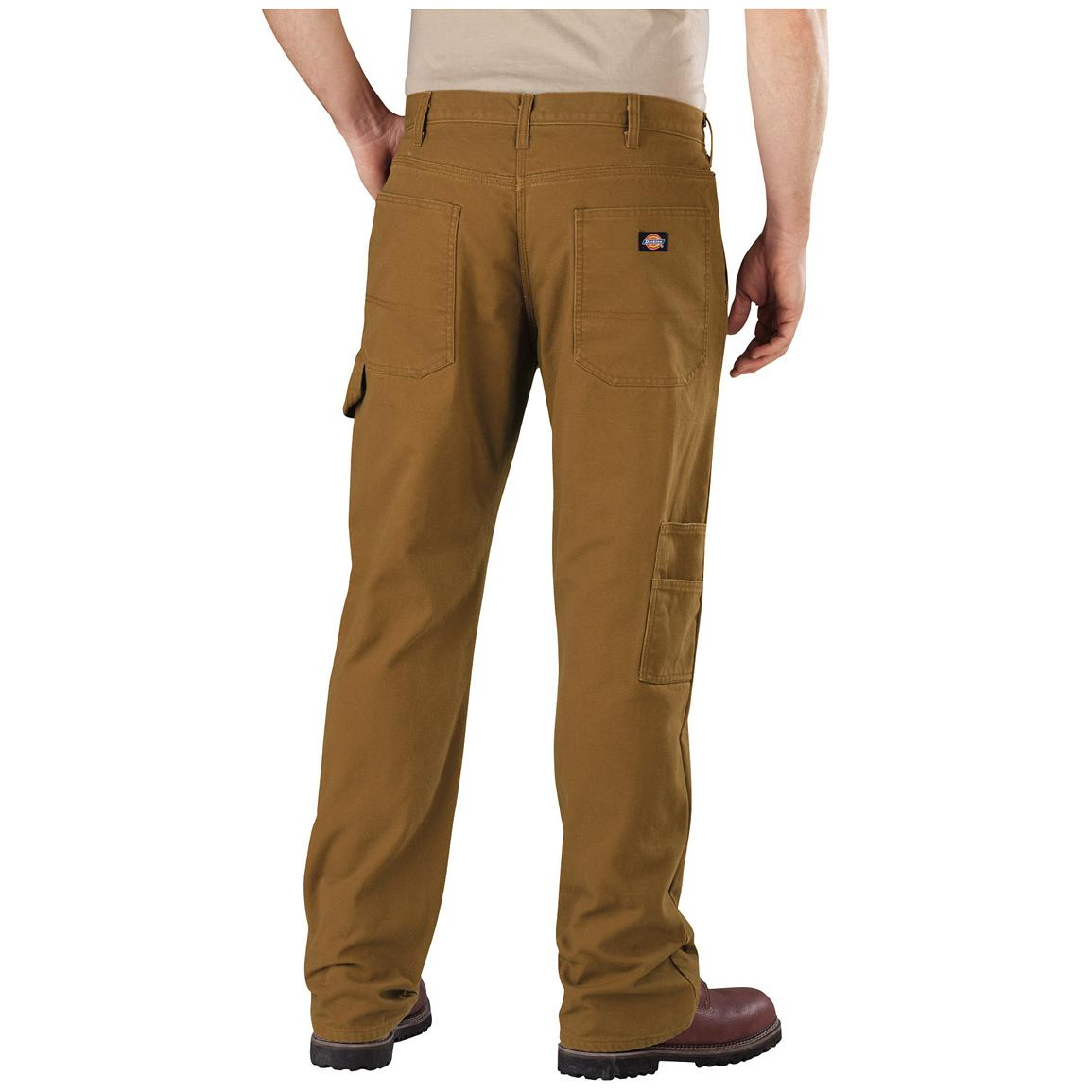 Men's Dickies Relaxed Straight Fit Flannel-lined Carpenter Jeans, Brown Duck - Back