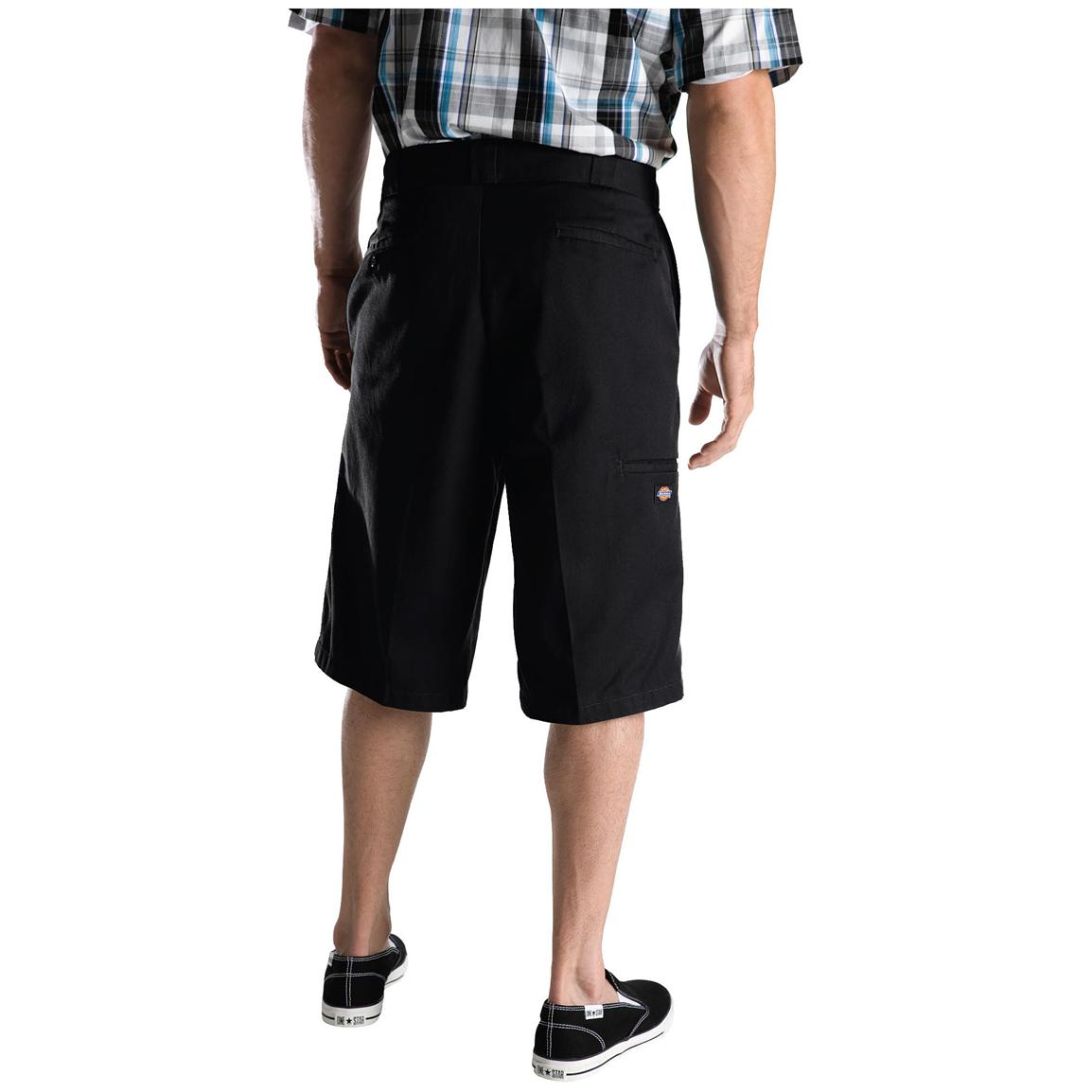 "Men's Dickies® 13"" Loose Fit Multi-pocket Work Shorts, Black - Back"