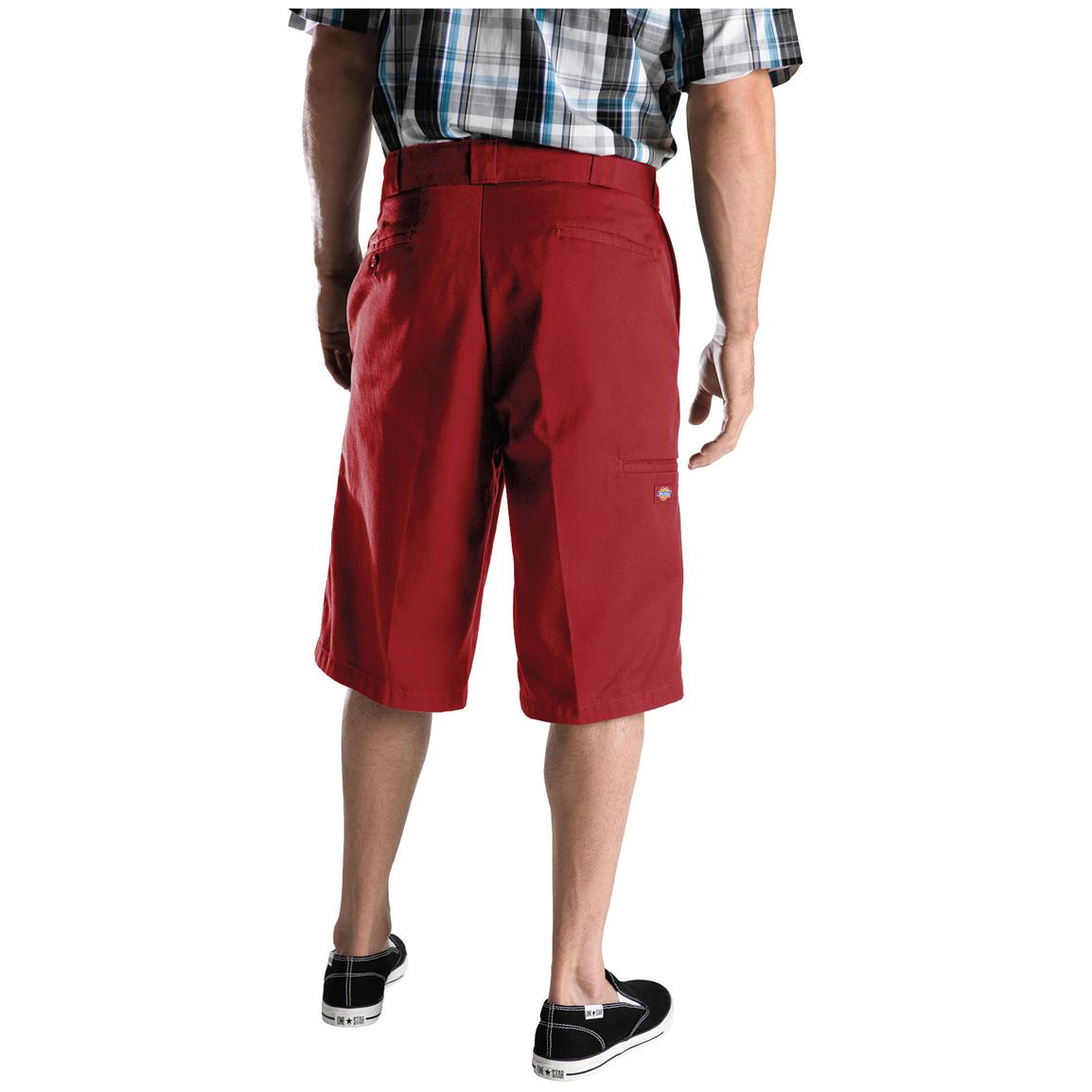 "Men's Dickies® 13"" Loose Fit Multi-pocket Work Shorts, English Red - Back"