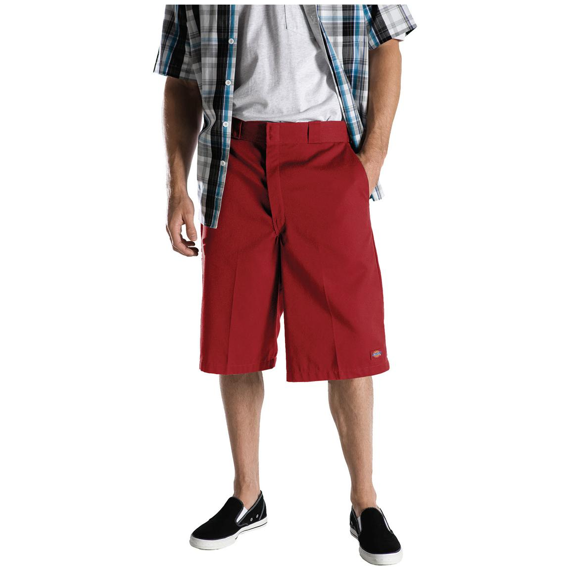 "Men's Dickies® 13"" Loose Fit Multi-pocket Work Shorts, English Red - Front"