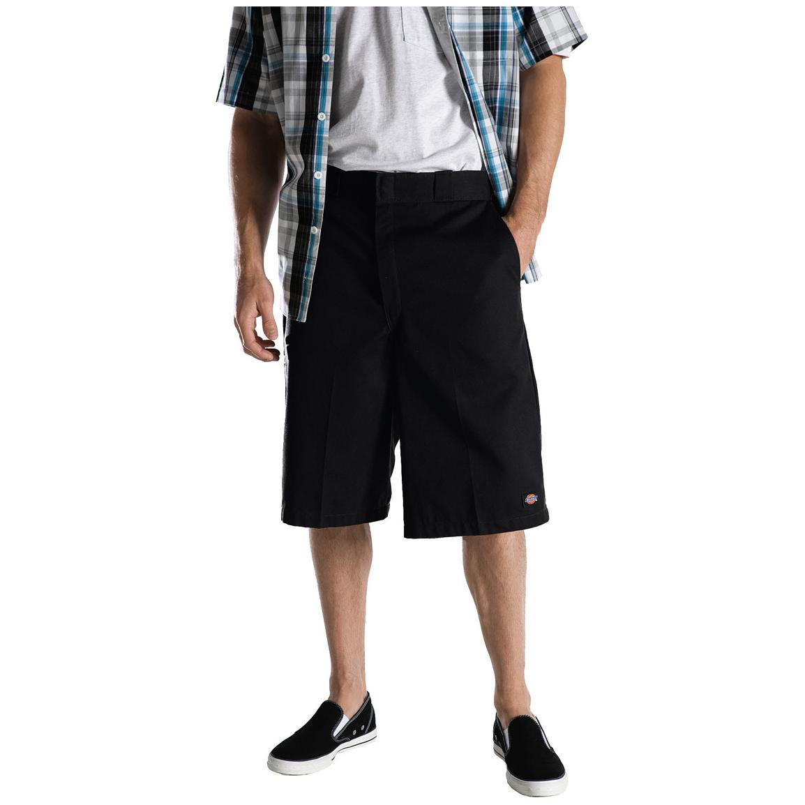 "Men's Dickies® 13"" Loose Fit Multi-pocket Work Shorts, Black - Front"