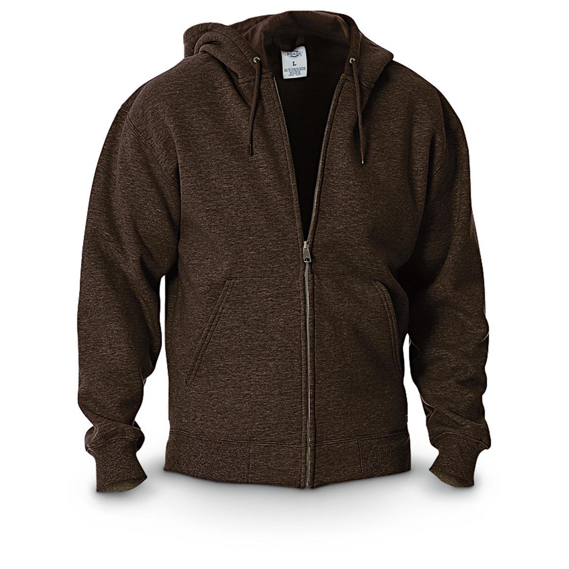 Dickies® Midweight Full-zip Fleece Work Hoodie, Chocolate Brown