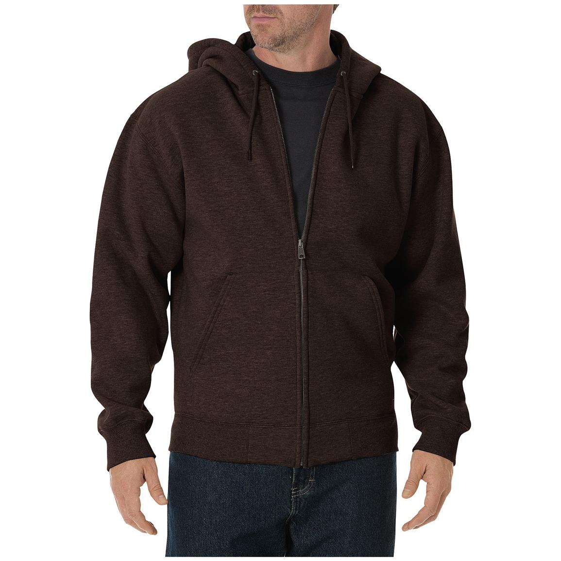 Dickies® Heavyweight Full-zip Fleece Work Hoodie, Chocolate Brown
