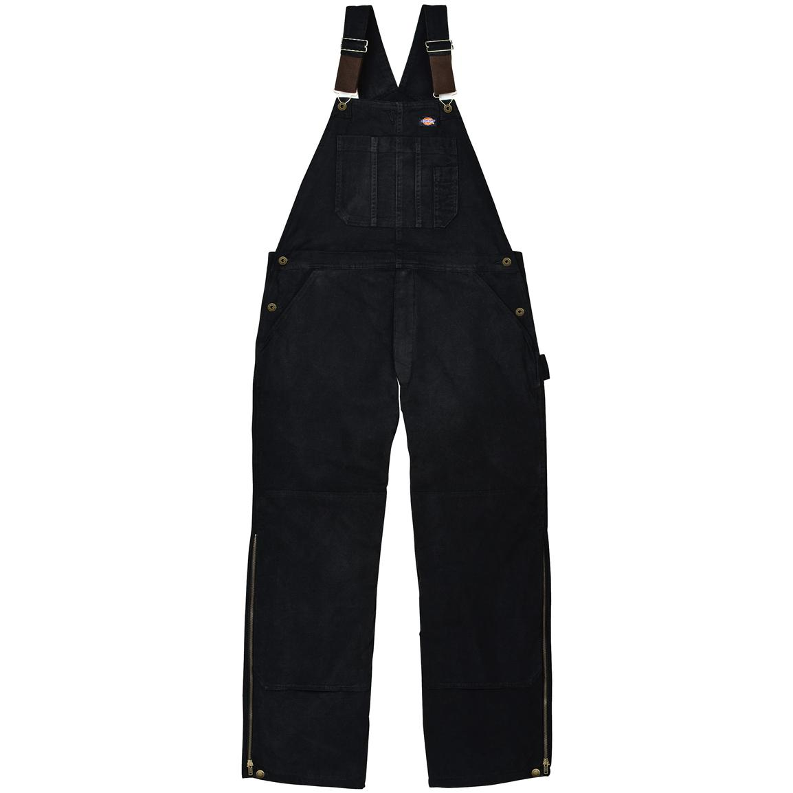 Dickies® Sanded Duck Insulated Work Bib-Alls, Black