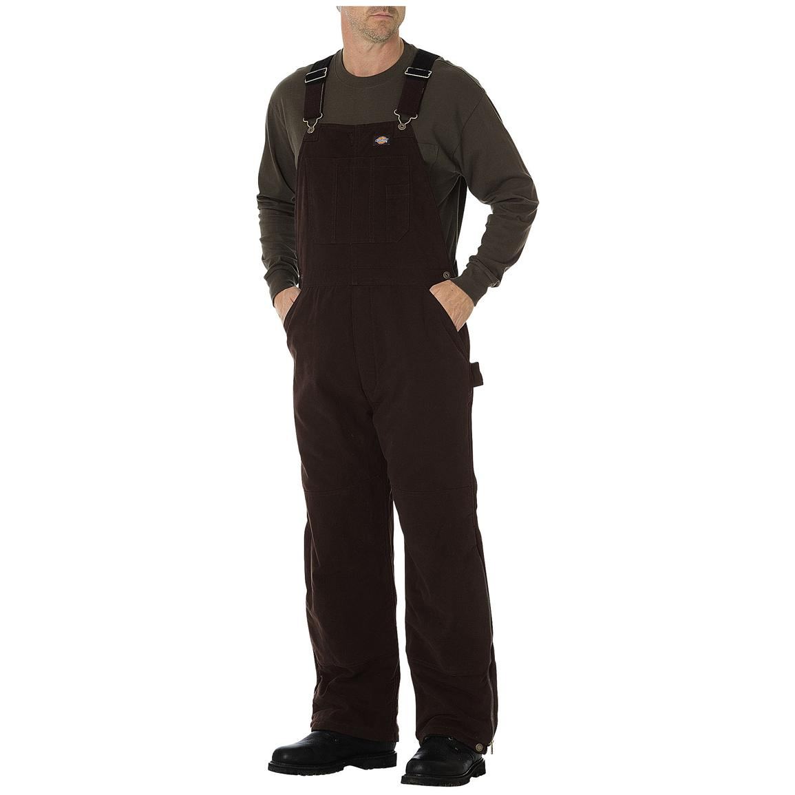 Dickies® Sanded Duck Insulated Work Bib-Alls, Chocolate Brown