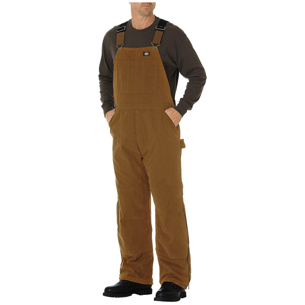 Dickies® Sanded Duck Insulated Work Bib-Alls, Brown Duck