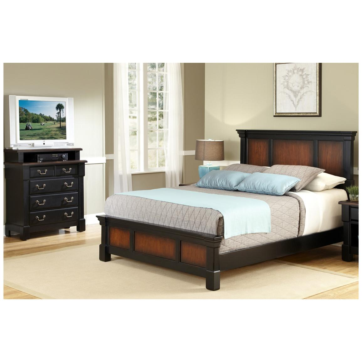 home styles the aspen collection king bed and media chest
