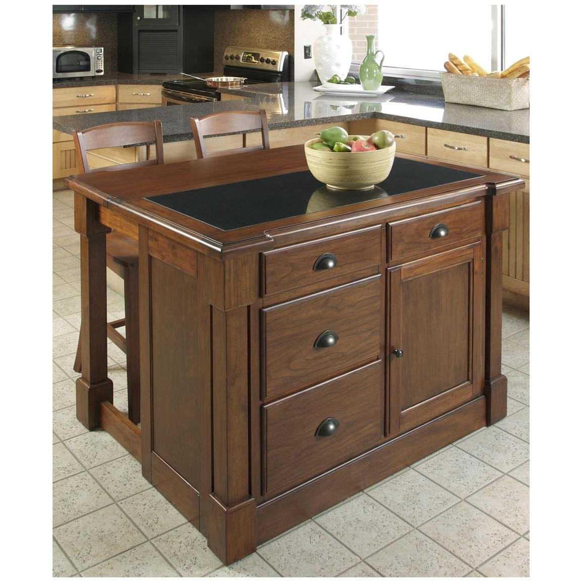 Home Styles® The Aspen Collection Kitchen Island with Hidden Drop-leaf Support and Granite Top
