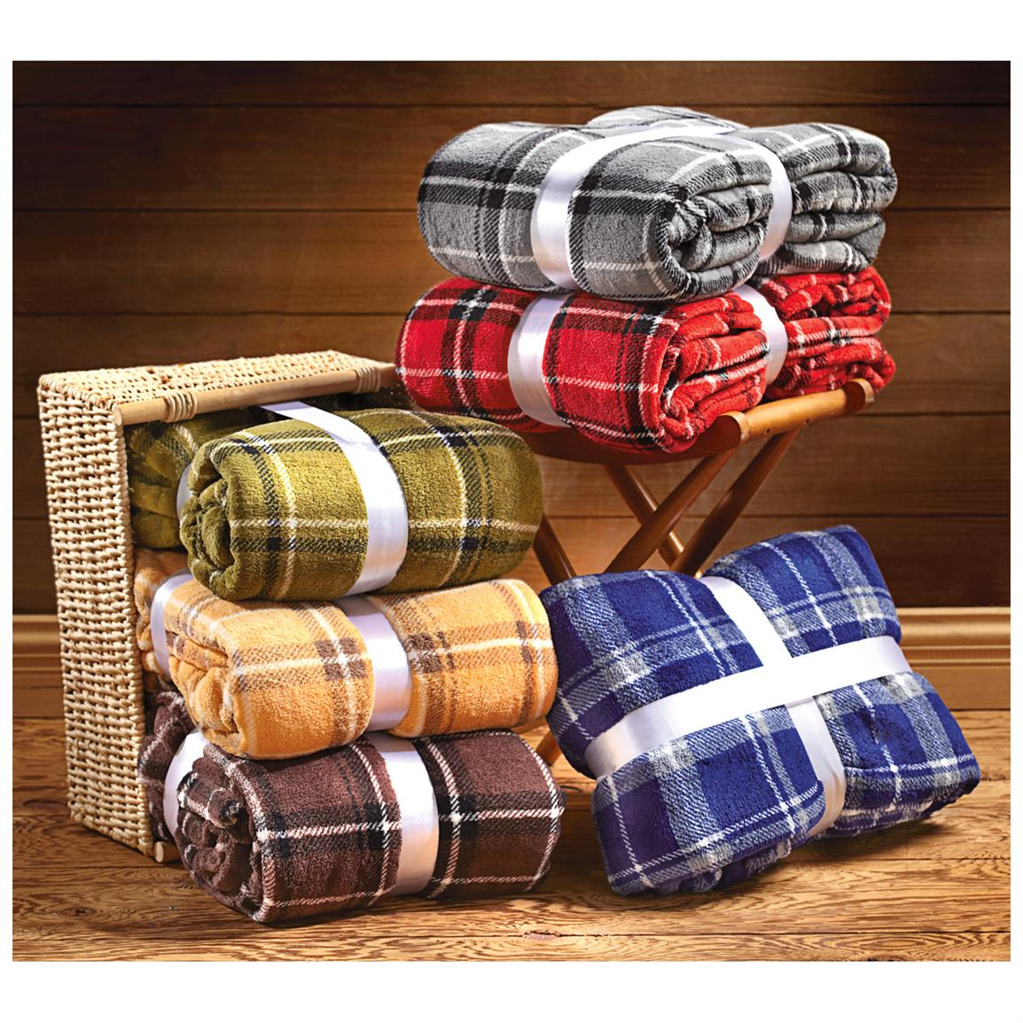 "66x90"" Plaid Fleece Blanket, Green / Red / Gold / Brown / Steel / Blue"