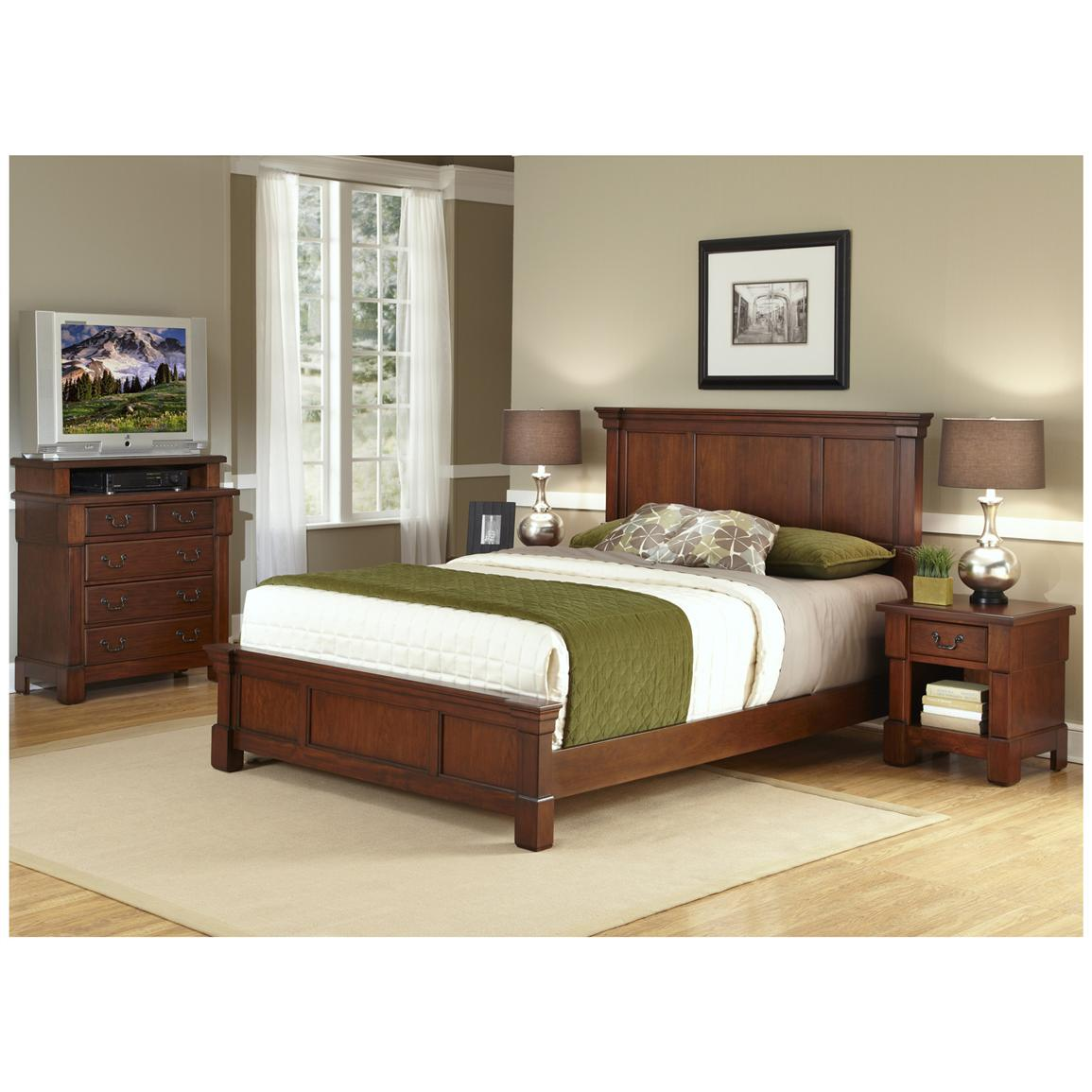 The Aspen Collection King / California King Headboard, Media Chest and Night Stand