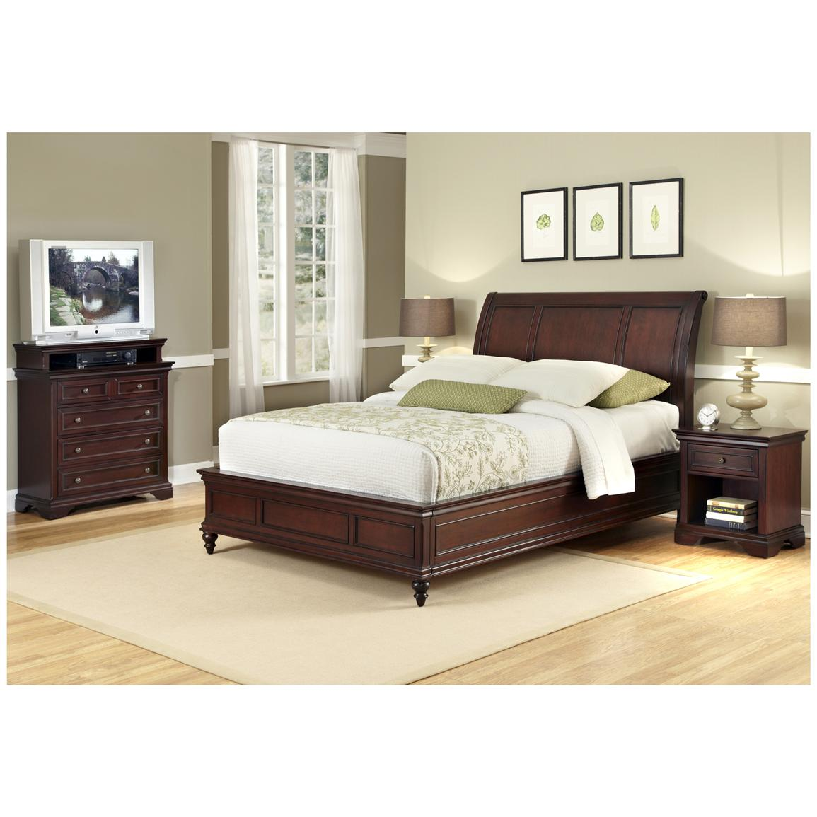 Lafayette King Sleigh Bed Headboard, Nightstand and Media Chest