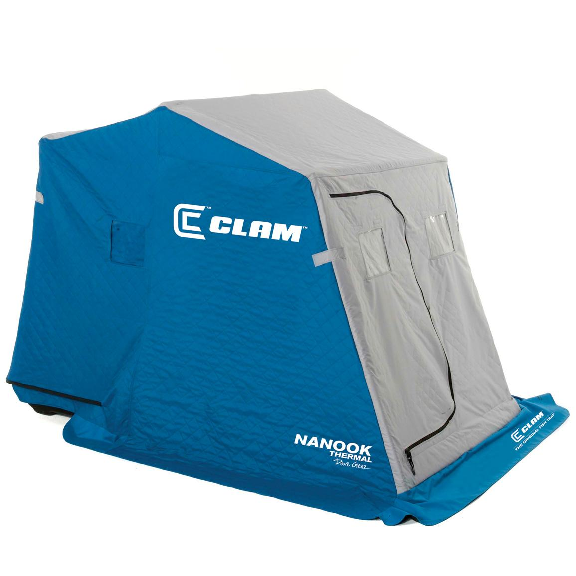 clam fish trap nanook thermal 2 person ice fishing shelter