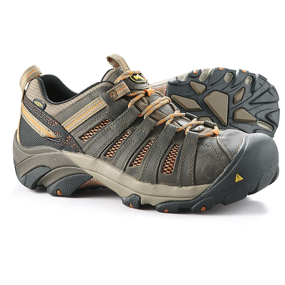 KEEN Men's Utility Flint Low Steel Toe Shoes, Shiitake / Rust