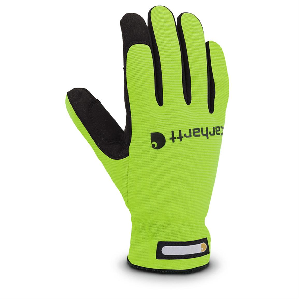 Carhartt® Quick-flex Work Gloves, Hi-vis Lime