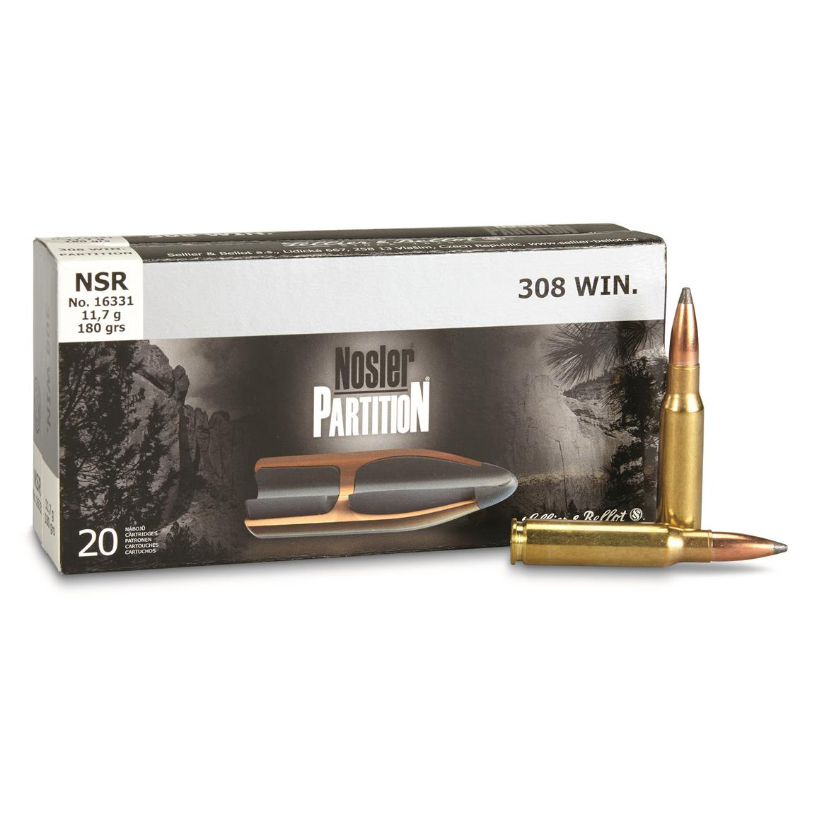 Sellier & Bellot, .308 Win., Nosler Partition, 180 Grain, 20 Rounds