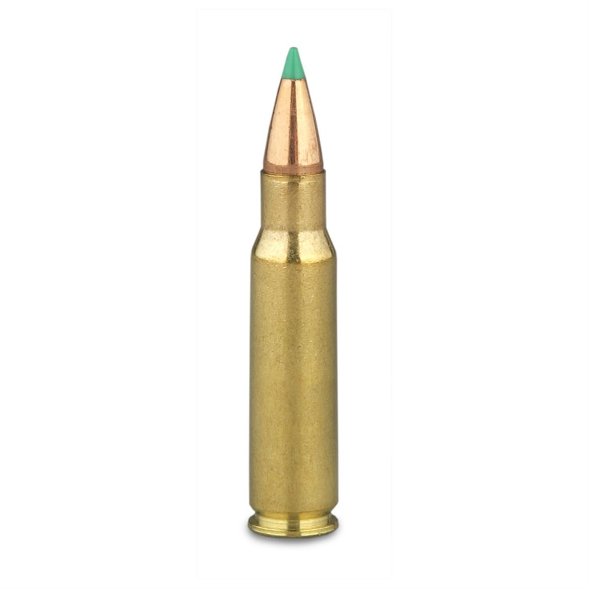 110 grain PTS polymer-tip bullet delivers high velocity and flat trajectory, and won't shatter