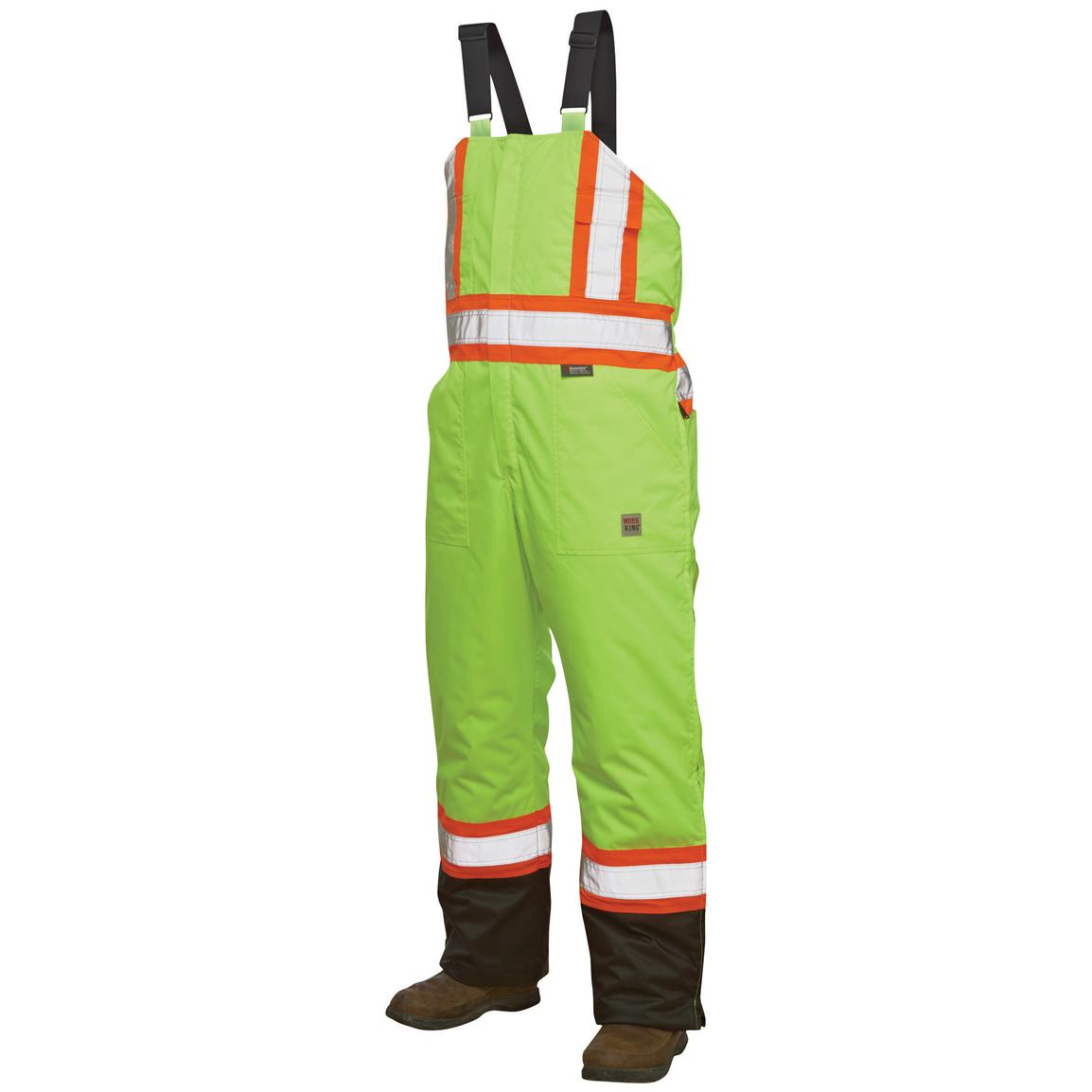 Work King Safety Hi-Vis Insulated Bib Overalls, Fluorescent Green