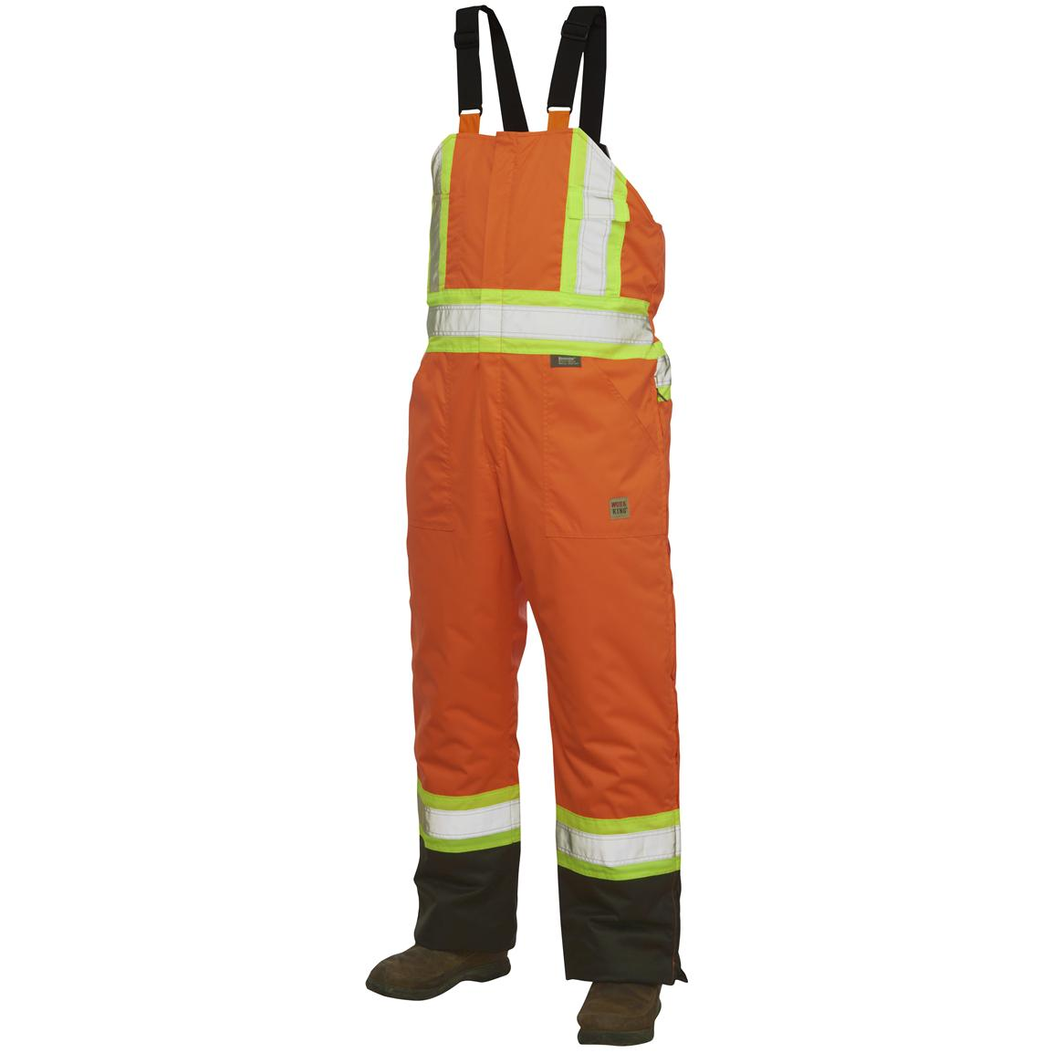 Work King Safety Hi-Vis Insulated Bib Overalls, Fluorescent Orange