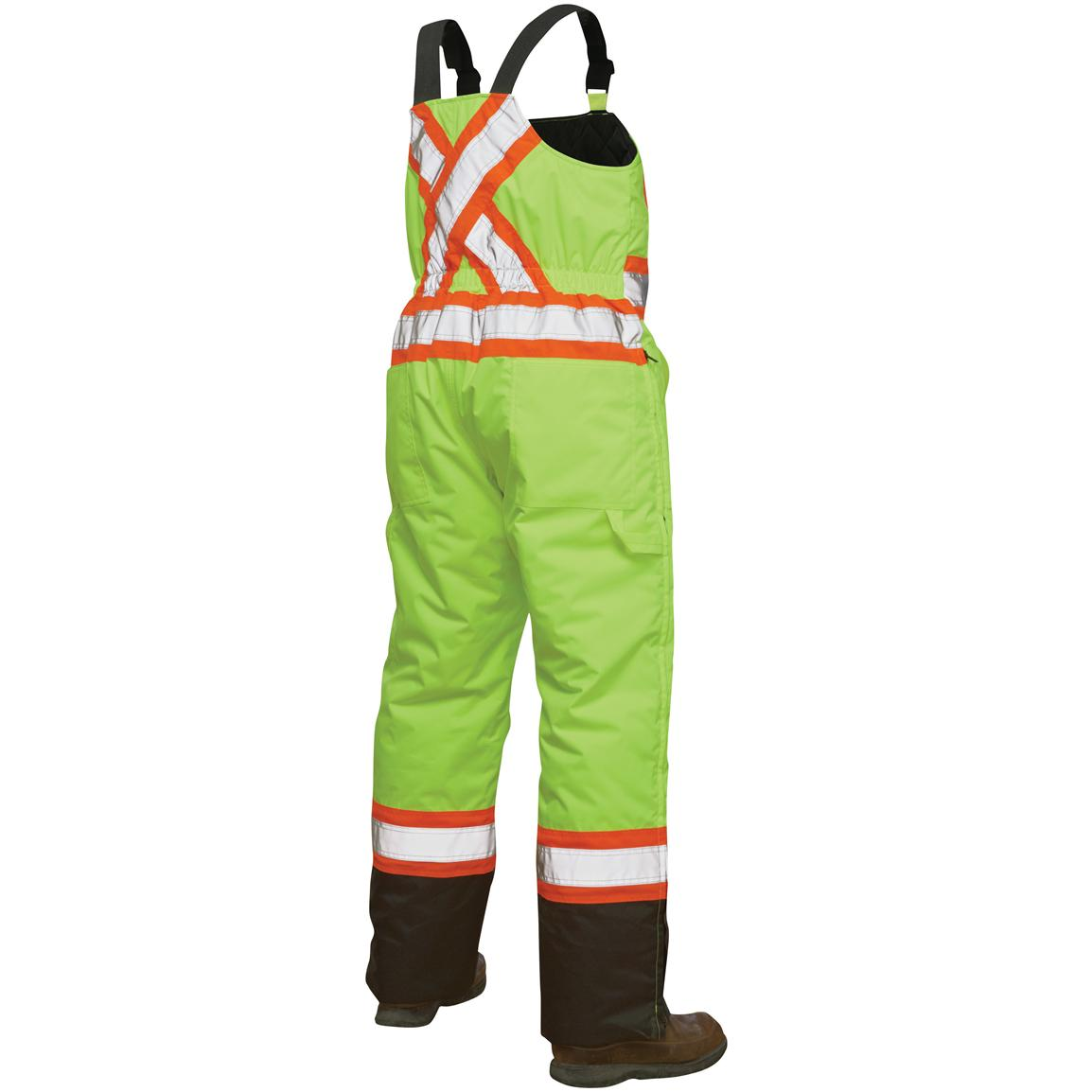 Work King Safety Hi-Vis Insulated Bib Overalls, Back View