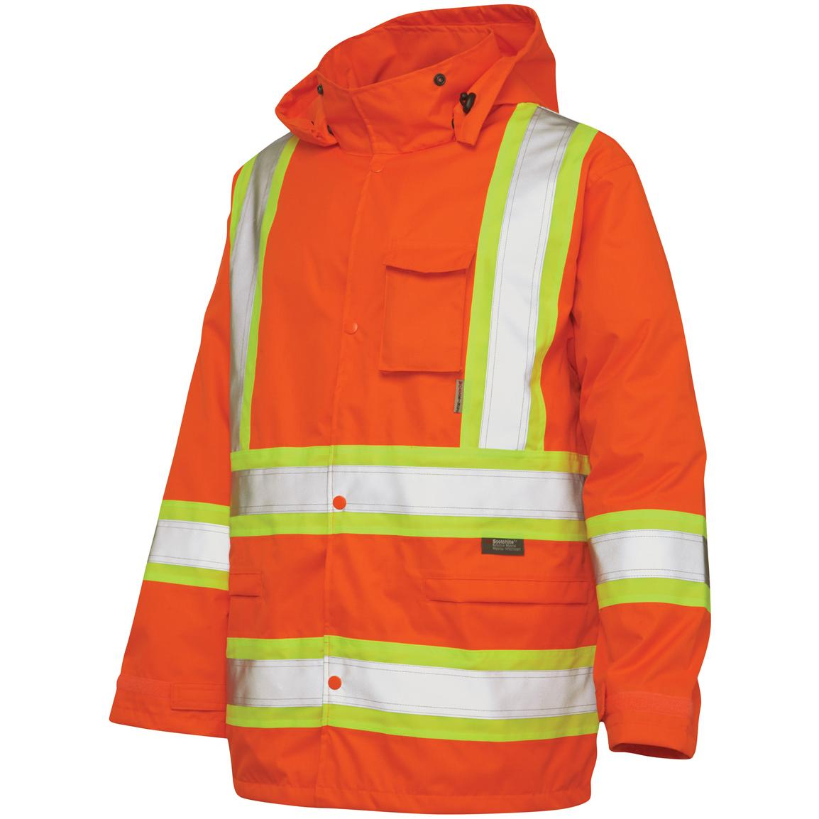 Work King Safety Hi-Vis Hooded Rain Jacket, Fluorescent Orange