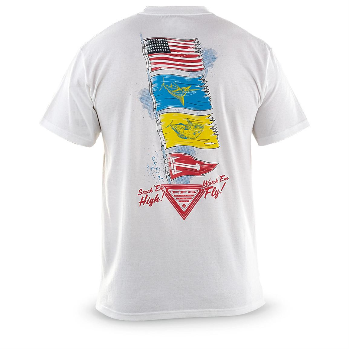 Men's Columbia PFG Americana Paddling Out Short-sleeved T-shirt, White - Back view