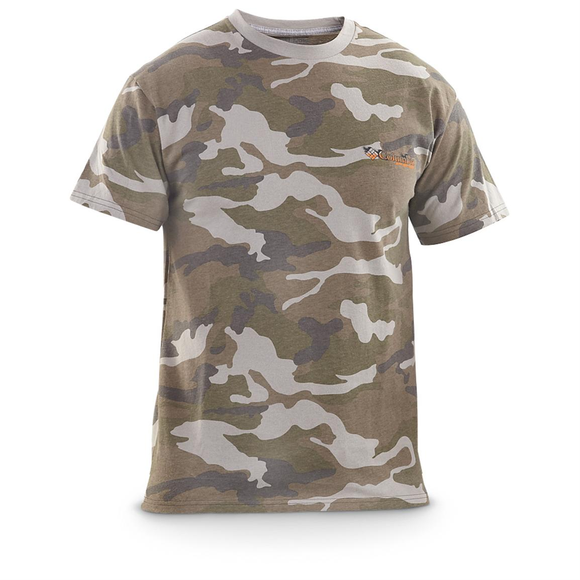 Men's Columbia PFG Only the Strong Survive Short-sleeved T-shirt, Flint Gray Camo - Front view